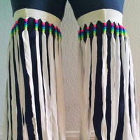 Thigh High White Fringe Shredded Neon Rainbow Kandi Bead Beaded Leg Wraps UV Reactive