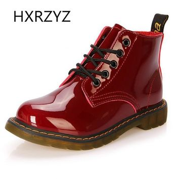 women shoes patent leather lace-up ankle boots cow muscle sole spring and autumn ladie