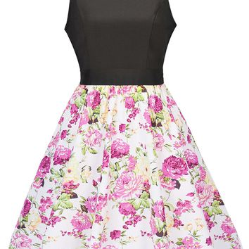 Casual Round Neck Bowknot Floral Printed Classic Skater Dress