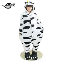 Shineye Cow Unisex Adult Flannel Hooded Pajamas Adults Cosplay Cartoon Cute Animal Onesuits Sleepwear  For Women Men