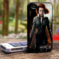 BLACK WIDOW AVENGERS iPhone 4 4S Black Case Cover Skin #TL