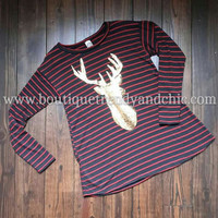 SEQUIN DEER PATCH STRIPED KNIT TOP