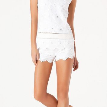 White Cotton Floral Embroidered Shorts