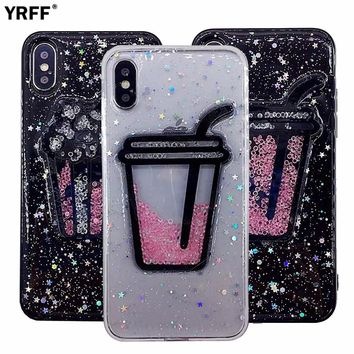 YRFF New Glitter star Rhinestone Liquid Quicksand Drinks Popcorn Phone Cases for iPhone 8 plus case cover for iphone 7 plus case