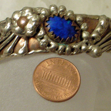 Brutalist Azurite Bracelet - Mid Century Modernist Abstract Cuff Bangle - Copper And Silver - Lovely Handmade Bracelet