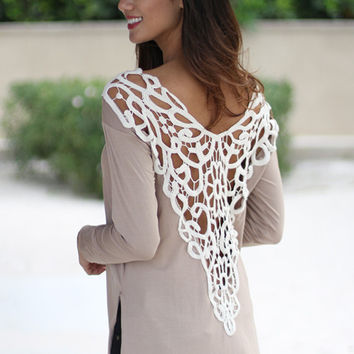 Light Tan Hem Slit Lace Dress