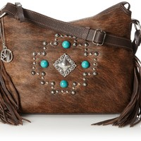 American West Free Spirit Brindle Cross Body Bag,Chocolate/Brindle Hair,One Size