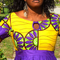 African Yellow and Purple Dress