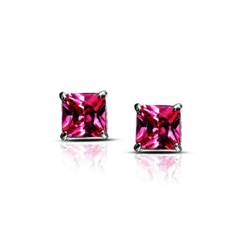 Platinum Over Sterling Silver Pink Princess Imitation Diamond Earrings