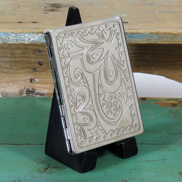 Vintage Embossed Metal Cigarette Case . Art Nouveau Style