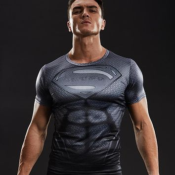 Superman Shirt 3D Printed T shirts Men Compression Shirt 2017 New Cosplay Short Sleeve Crossfit Tops For Male Fitness Clothing