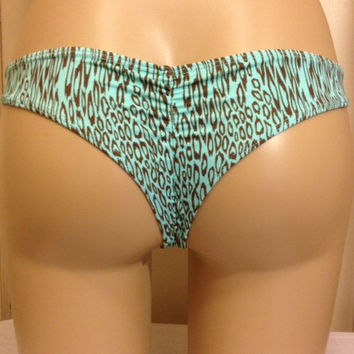 Kini Kai Brazilian Scrunch Surf Bottom Teal Animal