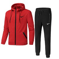 NIKE winter new men's warm sports running clothes two-piece red