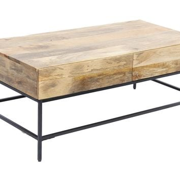 Mango Wood Coffee Table With 2 Drawers, Brown and Black By The Urban Port
