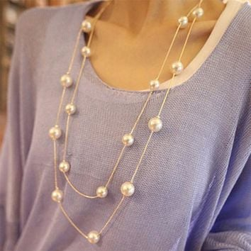 NK826 New 2017 Bijoux Cute Love Long Double Layers Chain Imitation Pearl Charm Pendant Necklace for Women Jewelry Statement Gift