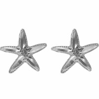 12MM 14K WHITE GOLD HAWAIIAN SEA STAR STARFISH POST STUD EARRINGS DIAMOND CUT