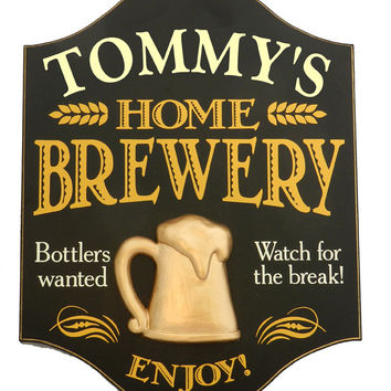 Personalized Home Brewery Wood Sign