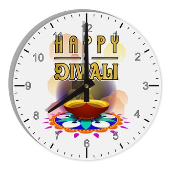 "Happy Diwali - Rangoli and Diya 8"" Round Wall Clock with Numbers by TooLoud"