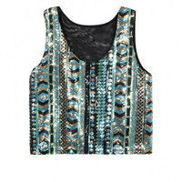 Blue-Green Crop Top With Sequins