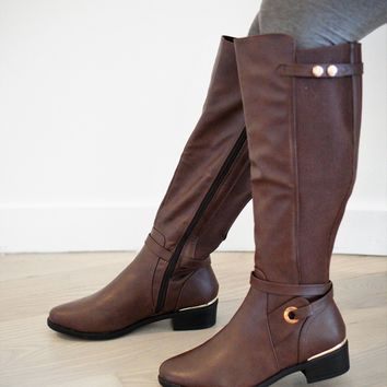 Buttoned Elastic Riding Boot (BROWN)