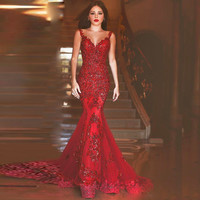 Mermaid Sweetheart Sleeveless Sequins Appliques Lace Long Evening Dress Backless vestido de festa Burgundy Prom Dresses