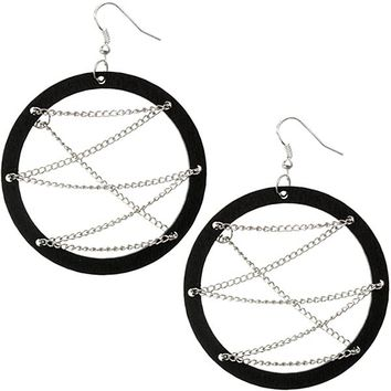 Black Wooden Zigzag Chain Hoop Earrings