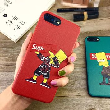 Luxury Paris Cartoon Simpson Silicone Phone Case fabric for iphone x 8 8plus 6 6s 7plus Cloth Sup original case cover coque