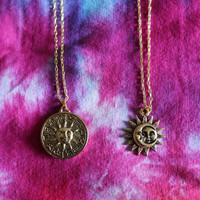 Gold Celestial Sun & Moon Zodiac Necklaces