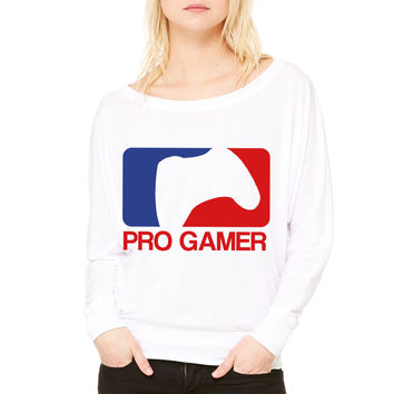 Proffesional Gamer WOMEN'S FLOWY LONG SLEEVE OFF SHOULDER TEE