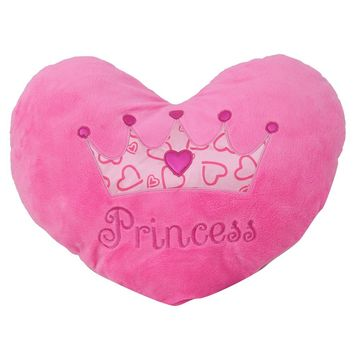 "Princess Heart Pillow 15"" Inches Pink Minky Throw Pillow"