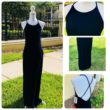 STEPPIN OUT Women's Navy Blue Velvet Formal Maxi Dress, Size Medium