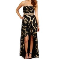 Haley- Black/Gold Strapless Hi Lo Dress