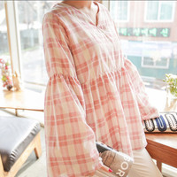 Bell-Sleeve Checked Top blouse