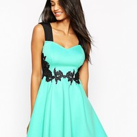 Lipsy Sweetheart Skater Dress With Applique Waist