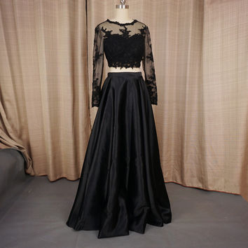 Graduation Dresses Black Lace Crop Top Two Piece Illusion Long Sleeve Homecoming Dresses Factory Real Photo
