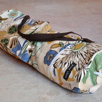 ON SALE yoga and pilates mat bag -- tan blue yellow and green floral with zipper and adjustable strap