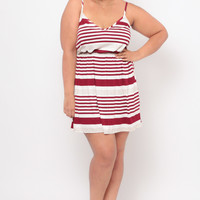Plus Size V-Neck Cami Strap Dress - Ivory/Burgundy