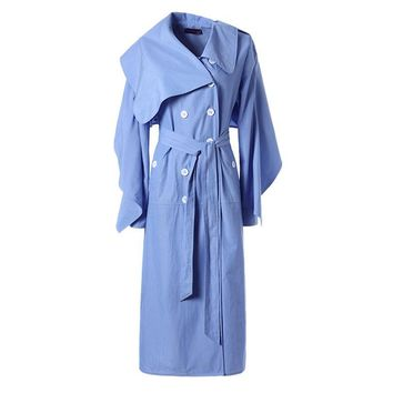 Women's Windbreaker Ruffle Long Sleeve Lace up Midi Trench Coat Female Cardigan Casual Clothes Korean Large Size