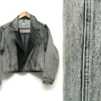 Vintage Acid Wash Jacket~Size Small-Medium~80s 90s Cropped Denim Jean Black Grey Jacket~By L.A. Gear