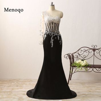 vestido de formatura New Design Real Picture Special occasion Applique Beaded One sleeve Black long mermaid prom dress 2018