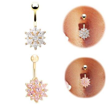 ac ICIKO2Q High quality Medical Steel Crystal Rhinestone Belly Button Ring Dangle Navel Body Jewelry Piercings Tassel Free shipping