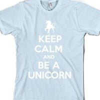 Keep Calm and Be a Unicorn (Dark)-Unisex Light Blue T-Shirt