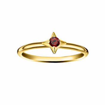 North Star Stacking Birthstone Rings - 14K Gold