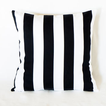White and Black Striped Decorative Pillow, Premier Cushion Cover, Cotton Pillow Case, Handmade Pillow Case,Two Side Pillow