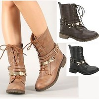 Womens Combat Boots Military Style Lace Up Mid Calf Black Tan Brown New Sz 6-10