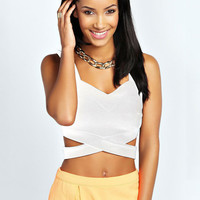 V-neck Bottom Cross Cutout Strappy Bodycon Cropped Top