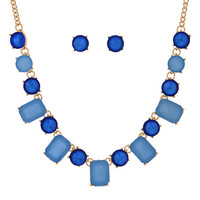 Mixed Blue & Navy Necklace and Earring Set
