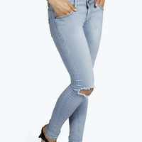 Tiana Low Rise Knee Slit Skinny Jeans