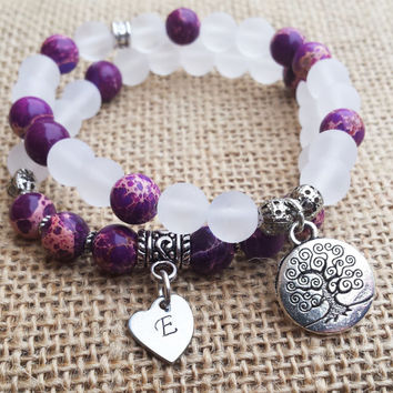 Yoga Bracelet Set Personalized Bracelet Set Initial Bracelet Mother's Gift Gemstone  Quartz Tree Of Life Purple Bracelet Gift For Mom