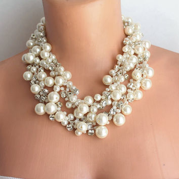Ivory Pearls and rhinestones Wedding Crocheted Statement Necklaces